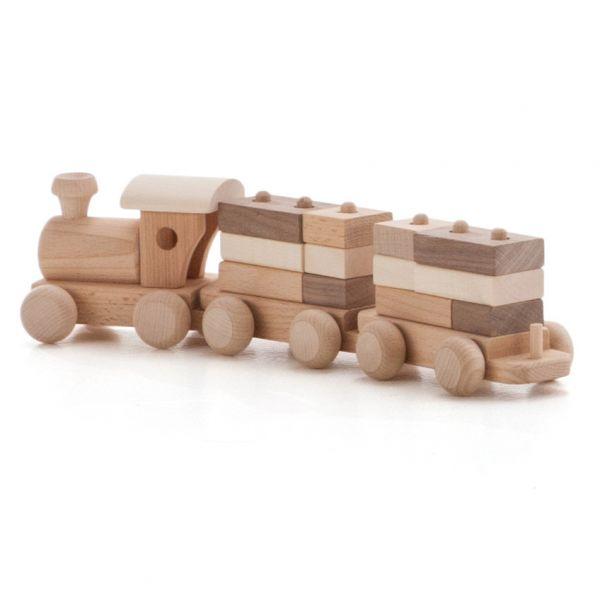 Zug und 2 Waggons mit Bauklötzen