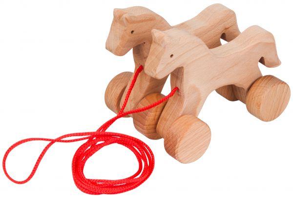 Hoppelpferde zum Ziehen aus Holz 14 cm