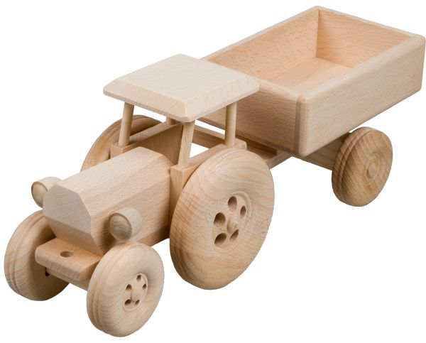 Trecker mit Anhänger aus Buchenholz
